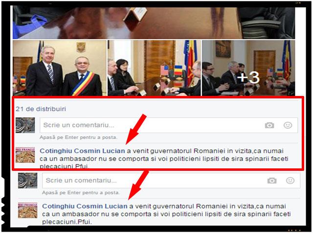 """""""A venit guvernatorul Romaniei in vizita, ca numai ca un ambasador nu se comporta si voi politicieni lipsiti de sira spinarii faceti plecaciuni. Pfui."""", a postat Cotinghiu Cosmin Lucian pe pagina de Facebook a lui Emil Boc"""