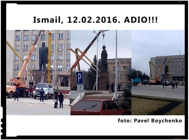 12 februarie 2016: La Ismail a fost daramata statuia lui Lenin. Ucraina continua sa se descotoroseasca de relicvele comunismului