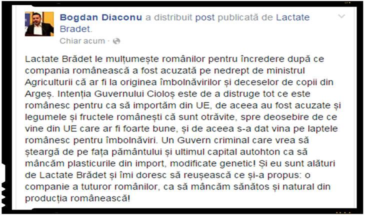 """Bogdan Diaconu: """"Un Guvern criminal care vrea sa stearga de pe fata pamantului si ultimul capital autohton ca sa mancam plasticurile din import, modificate genetic!"""""""