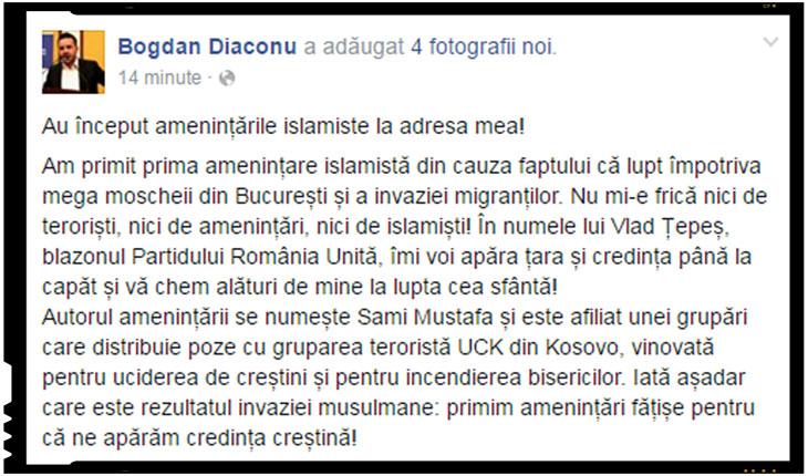 "Bogdan Diaconu: ""Au inceput amenintarile islamiste la adresa mea!"""