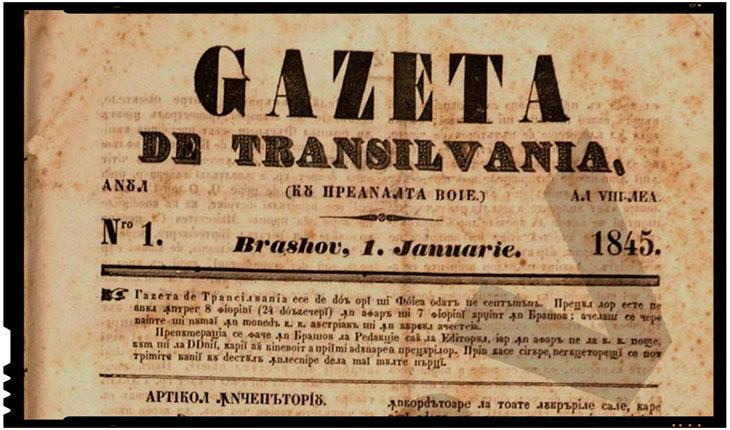 "In Brasov la 12 martie 1838 apare ""Gazeta de Transilvania"", condusa de Gerge Baritiu"