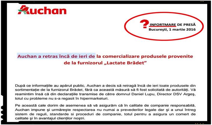 """Prin intermediul unui comunicat de presa scris cu picioarele, cei de la Auchan au anuntat ca au retras de la vanzare produsele alimentare provenite de la furnizorul """"Lactata Bradet"""""""