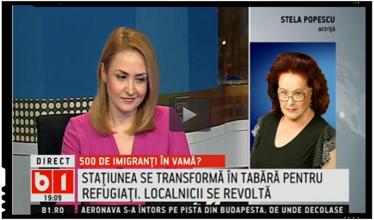 Stela Popescu se declara impotriva aducerii imigrantilor la Vama Veche, foto: captura B1 TV