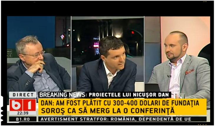 "Nicușor Dan :""Am fost platit cu 300 - 400 de euro de Fundatia Soros ca sa merg la o conferinta"", foto: B1 TV, via fluierul.ro"