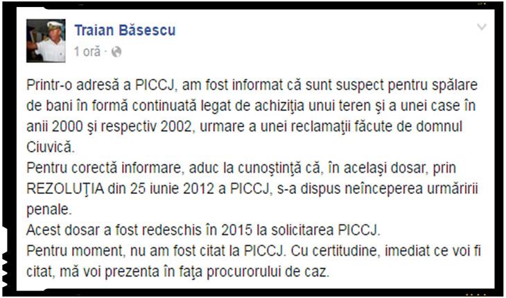 Traian Basescu a fost pus sub urmarire penala pentru spalare de bani