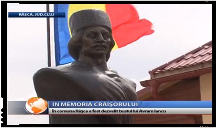 Bust al lui Avram Iancu dezvelit la Râşca, în judeţul Cluj, FOTO: TVR Cluj
