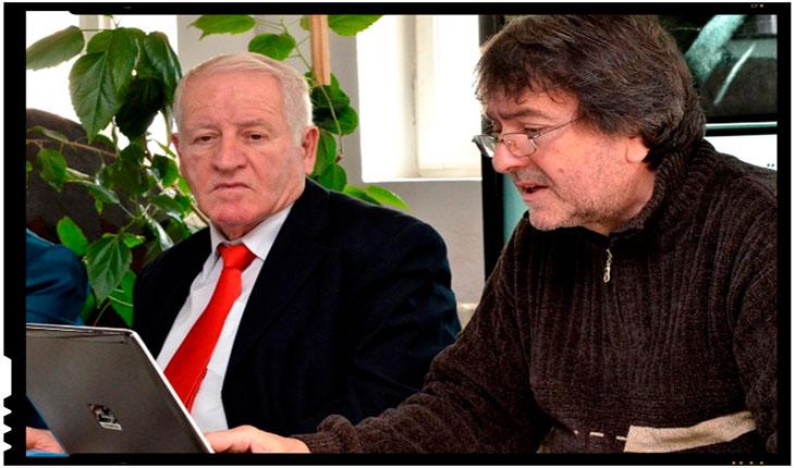 Prof. Univ. Dr. Gheorghe Mecu-Gorj, alături de scriitorul Laurian Stănchescu, Foto: certitudinea.ro