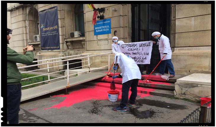 Protest in fata Ministerului Sanatatii din Romania, FOTO: Sidonia Bogdan