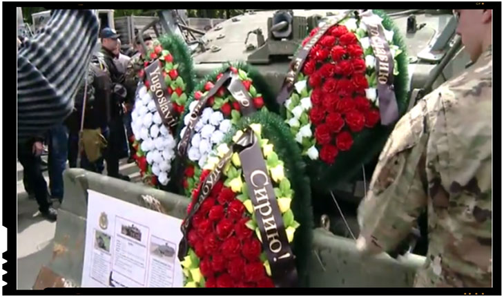 Republica Moldova: Deputatii socialisti au depus coroane de doliu pe tehnica militara americana, FOTO:independent.md