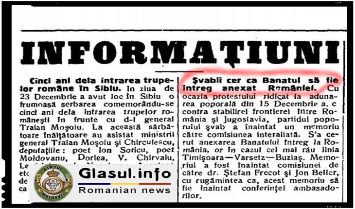 Şvabii bănățeni au cerut ca Banatul să fie întreg anexat României, Foto: Vestul Romaniei, Vineri 28 Dec. 1923