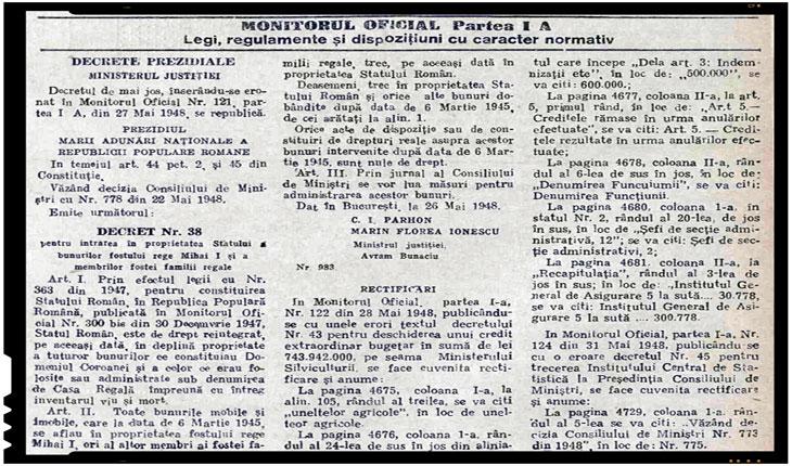 3 iunie 1948 - Se emitea decretul Nr 38 pentru intrarea in proprietatea Statului a bunurilor fostului rege Mihai I si a membrilor fostei familii regale