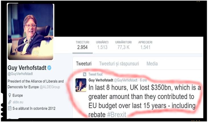 """GUY VEHOFSTADT: """"Marea Britanie a pierdut in ultimele opt ore 350 de miliarde de dolari, o suma mai mare decat contributia la bugetul UE in ultimii 15 ani"""""""
