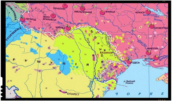 """Hărți etnice sovietice din 1988 și 1991 (în ucraineană) arătând popoarele """"român și moldovenesc"""" (primul în galben, al doilea verde deschis) ca diferite, prima conform poziției oficiale sovietice din anii 1938-1990, a doua din punctul de vedre """"moldovenist maximalist"""""""