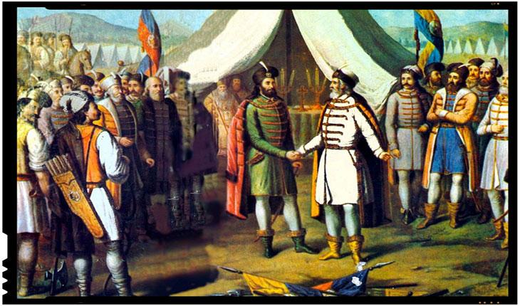 Înfrăţirea moldovenilor şi muntenilor. Bogdan al III-lea şi Radu cel Mare în centrul picturii. Autor: Constantin Lecca