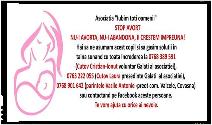 """Stop avort! Nu-i avorta, nu-i abandona, ii crestem impreuna!"""", este si indemnul celor de la Asociatia """"Iubim toti oamenii"""