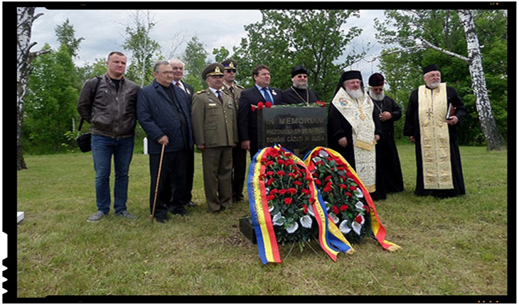 Inaugurarea monumentului comemorativ românesc din Lebedian, Regiunea Lipeţk, Foto: gorod48.ru