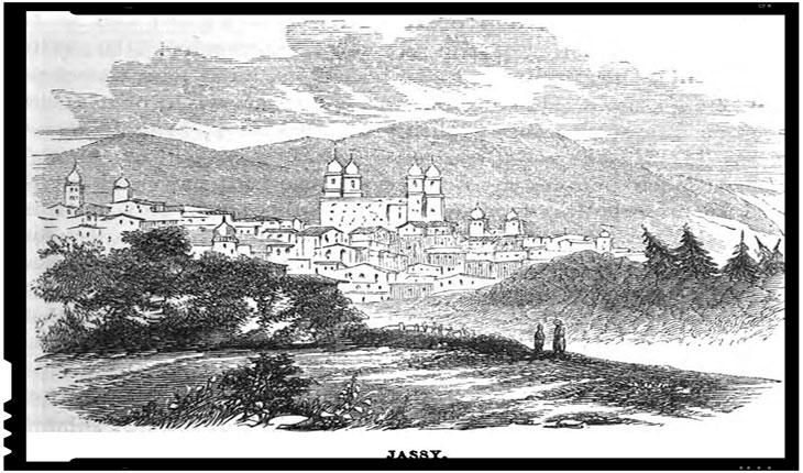 In centru, Catedrala Mitropolitana din Iasi într-un desen publicat în 1855