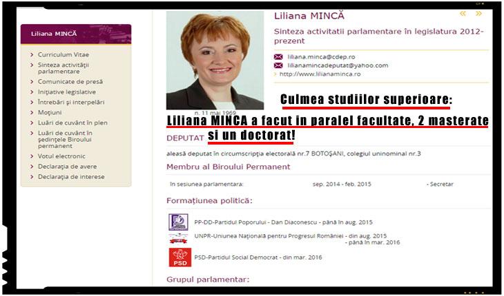 Culmea studiilor superioare: Liliana Mincă a facut in paralel facultate, un doctorat si 2 masterate, Foto: captura cdep.ro