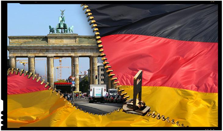Protest extrem pe Poarta Brandenburg din Berlin impotriva islamizarii Germaniei