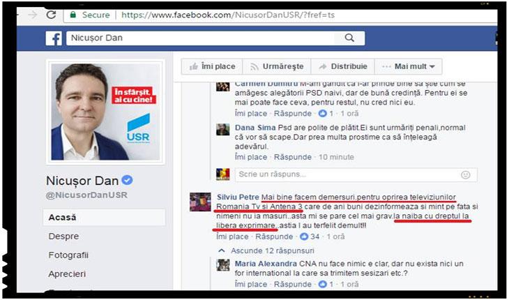 """Culmea fanatismului sorosist: """"La naiba cu dreptul la libera exprimare!"""", Foto: facebook.com/zara.ovidiu"""
