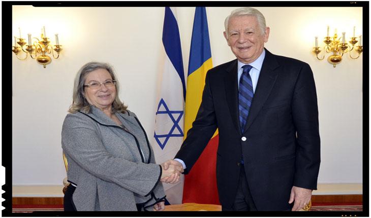 Teodor Meleșcanu, ministrul afacerilor externe, a intalnit-o azi pe ambasadoarea statului Israel, Foto: mae.ro
