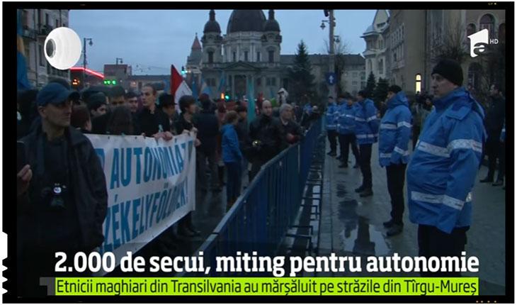 """Jandarmeria Româna dezvaluie masinatiunile UDMR: """"Am fost chemați de organizatorul Czirmay Zoltán să-i îndepărtăm pe stegari"""", Foto: captura Antena 1"""