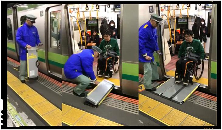 (VIDEO) Japonia: cum sunt ajutate persoanele cu dizabilitati in trenurile din Japonia