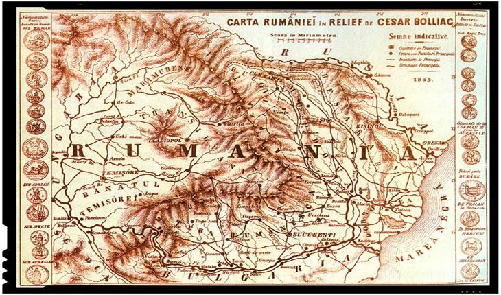 ROMÂNIA ÎN CUMPĂNA VREMII, Harta României, datată 1855, realizată de Cezar Bolliac