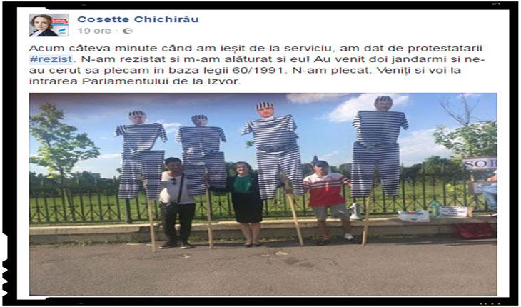 """""""Chichirăciunile"""" societatii romanesti! Lucru necurat maica de cum nu le sunt masurate spinarile celor care protesteaza neautorizat!?, Foto: captura facebook.com"""