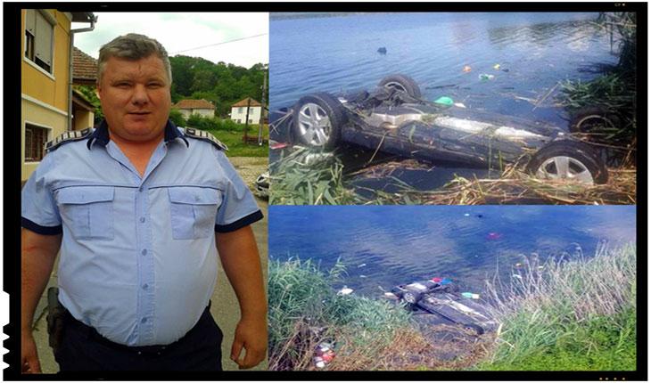 Politistul zilei: un agent de politie a salvat de la inec o familie care a ajuns cu masina in lac, Foto: Politia Romana - www.politiaromana.ro
