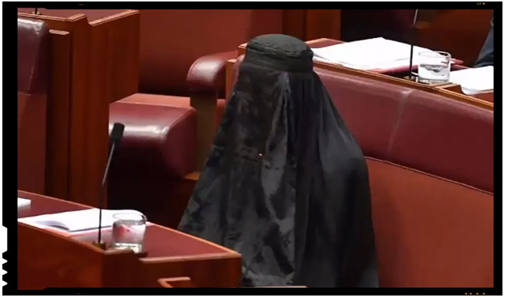 O senatoare australiana a venit la sedinta parlamentara imbracata in burka, FOTO: captura youtube