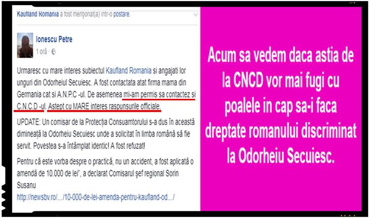 A fost contactat CNCD-ul in cazul discriminarii de la Odorheiu Secuiesc! Acum sa vedem daca astia de la CNCD vor mai fugi cu poalele in cap sa-i faca dreptate romanului discriminat