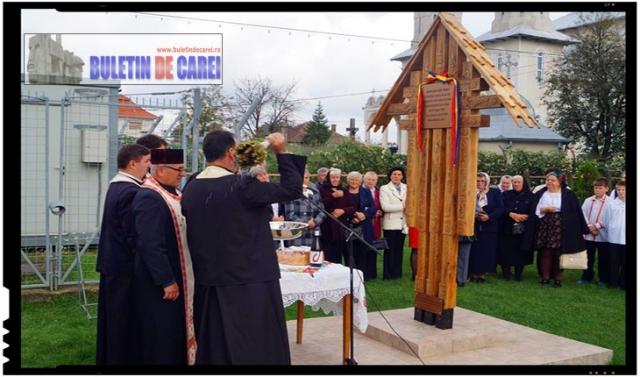 In satul Lucăceni a avut loc dezvelirea şi sfinţirea Troiţei închinate foştilor refugiaţi şi expulzaţi în urma Dictatului de la Viena din 1940, Foto: BuletindeCarei.ro