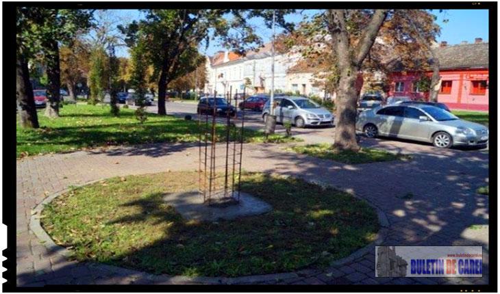 Orasul Carei are nevoie de Eminescu, are nevoie de un suflu proaspat de românism: au inceput lucrarile pentru soclul pe care va fi amplasat bustul lui Mihai Eminescu la Carei, Foto: BuletindeCarei.ro