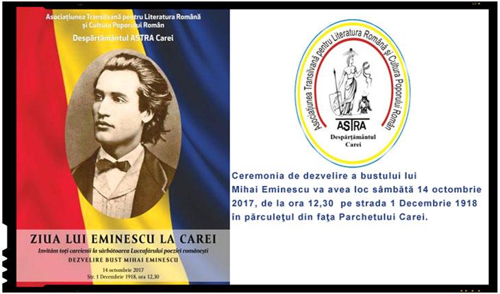 Sâmbătă, 14 octombrie 2017, va avea loc dezvelirea bustului lui Mihai Eminescu la Carei