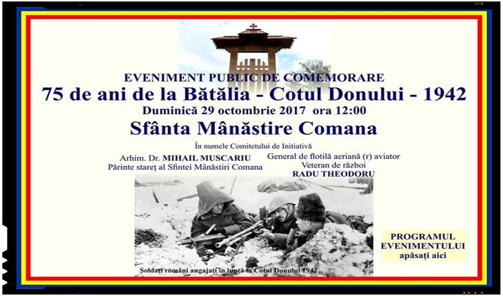 29 octombrie 2017: Comemorare 75 de ani de la Batalia Cotul Donului 1942, Foto: trezirealarealitate.ro