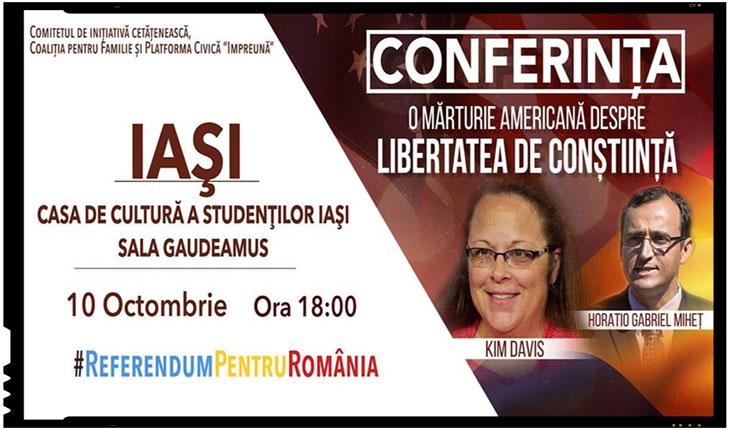 """Pe 10 octombrie la IAŞI va avea loc conferinƫa """"O mărturie americană despre libertatea de conștiinta"""", Foto: Facebook.com"""