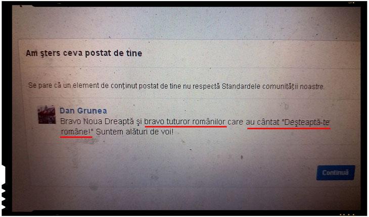 """Incredibil! Cenzurat si blocat de o retea de socializare pentru ca a salutat intonarea imnului national """"Deșteaptă-te, române!"""", Foto: Facebook"""