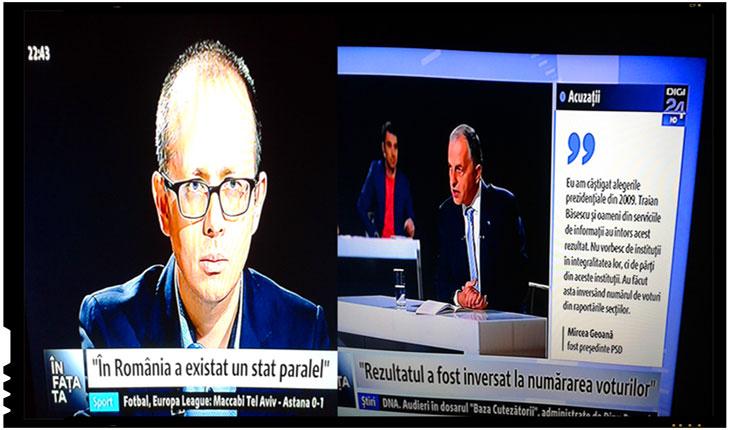 """Cat de penibil este ca niste """"lingatori de clante"""" pe la usa lui Basescu sa-l intrebe foarte mirati pe Mircea Geoana, precum niste mironosite, cum de s-au putut oare frauda alegerile din 2009?, Foto: Captura Digi 24"""