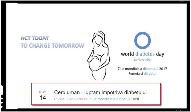 14 noiembrie - Ziua mondiala a diabetului la Iasi:Cerc uman - luptam impotriva diabetului, Foto: facebook.com/wddiasi/