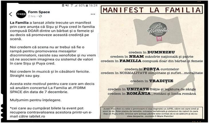 Concert La Familia anulat pentru un manifest pro familie