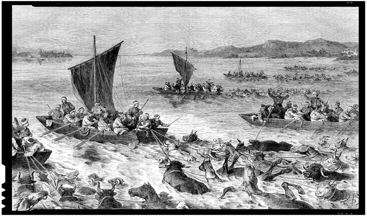 Otomani intorcandu-se cu prada din Romania peste Dunare