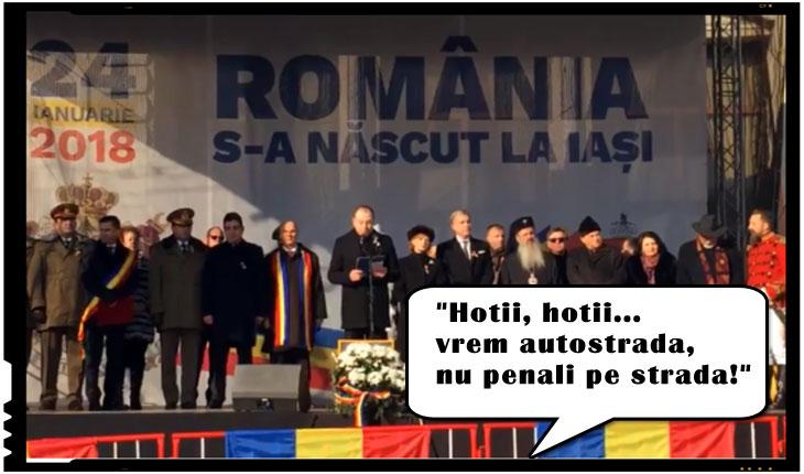 """Discursul consilierului prezidenţial Andrei Muraru intampinat cu huiduieli la Iași: """"Hoţii, hoţii...vrem autostrada, nu penali pe strada!"""", Foto: cotidianul.ro"""