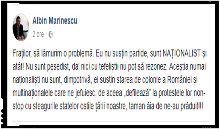 """Jurnalistul Albin Marinescu: """"Tefelistii sustin starea de colonie a Romaniei, de aceea defileaza la potestele lor cu steagurile statelor ostile tarii noastre, taman aia de ne-au praduit!"""""""