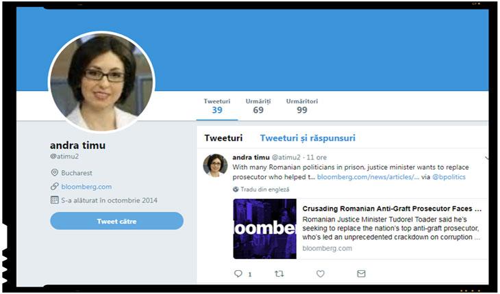 Andra Timu (Bloomberg), Foto: captura twitter