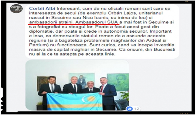 Se putea ca o asemenea benchetuială a ambasadorilor straini in secuime sa nu fie fructificata si de catre propagandistii de la portalul profund antiromânesc Corbii Albi?, Foto: captura facebook