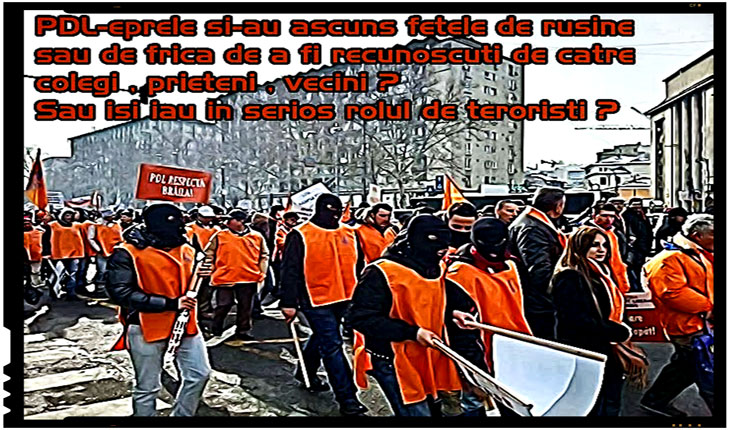 "Si PDL-ismul ajunsese in ultimele sale zile de viata sa fie ""sustinut"" pe strazi de oameni imbracati in portocaliu, dar cu cagule negre pe fata, Foto: Glasul-Moldovei.blogspot.com"