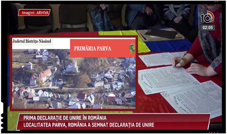 Moment istoric! Prima localitate din România care a votat Declaratia de Unire este comuna Parva din judeţul Bistriţa-Năsăud, Foto: 10tv.md, primariaparva.ro