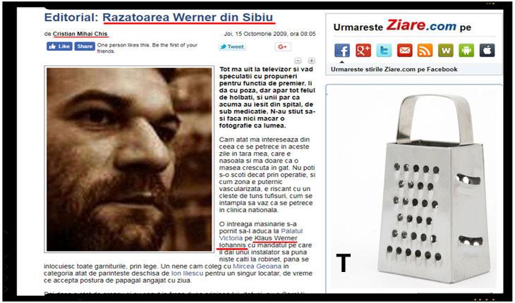 """Degeaba arunca unii de la Ziare.com cu cerneala de sepie! Inca un articol de-al lor impotriva lui Iohannis: """"Razatoarea Werner din Sibiu"""", Foto: captura Ziare.com & trucaj"""
