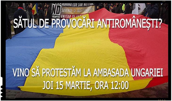Reprezentantii Noii Drepte vor protesta impotriva provocarilor antiromanesti in fata Ambasadei Ungariei, Foto: nouadreapta.org
